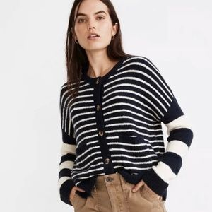 Madewell Striped Colburne Button down Cardigan L